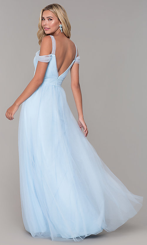 Image of long tulle cold-shoulder prom dress by Elizabeth K. Style: FB-GL2610 Detail Image 8