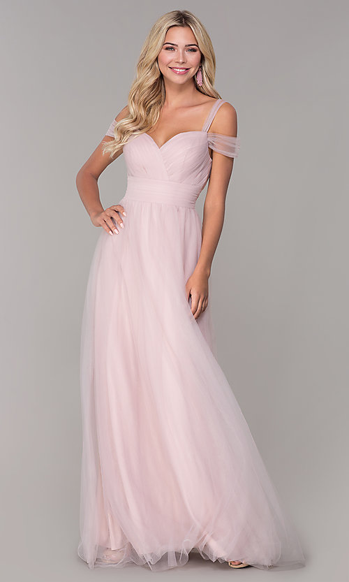 Image of long tulle cold-shoulder prom dress by Elizabeth K. Style: FB-GL2610 Front Image