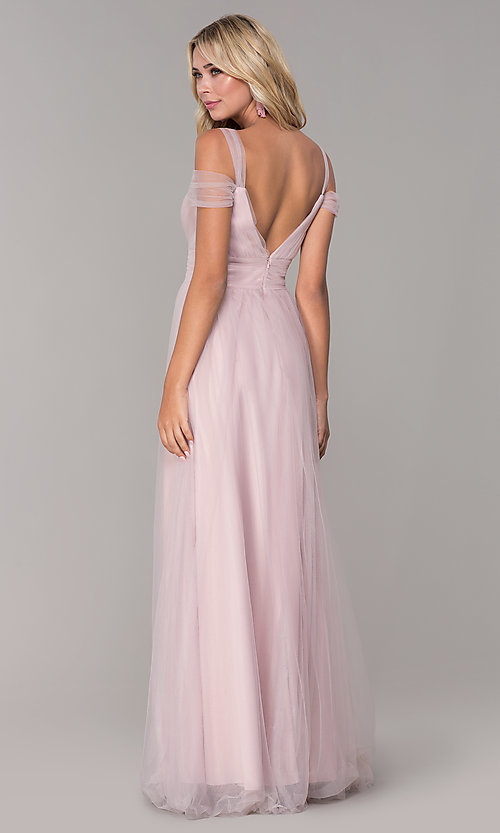 Image of long tulle cold-shoulder prom dress by Elizabeth K. Style: FB-GL2610 Back Image