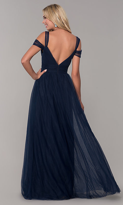 Image of long tulle cold-shoulder prom dress by Elizabeth K. Style: FB-GL2610 Detail Image 6