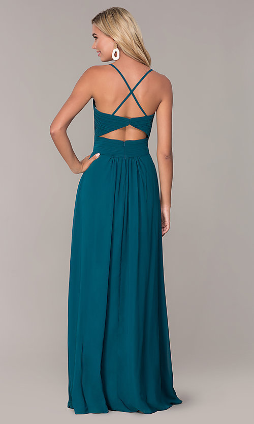 Image of Elizabeth K long chiffon prom dress. Style: FB-GL2609 Back Image