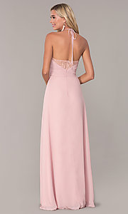 Image of long ruched halter chiffon prom dress by Elizabeth K. Style: FB-GL2606 Back Image