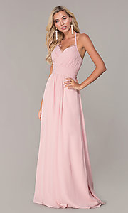 Image of long ruched halter chiffon prom dress by Elizabeth K. Style: FB-GL2606 Detail Image 3
