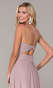 Image of long ruched-bodice chiffon prom dress by Elizabeth K. Style: FB-GL2607 Detail Image 7