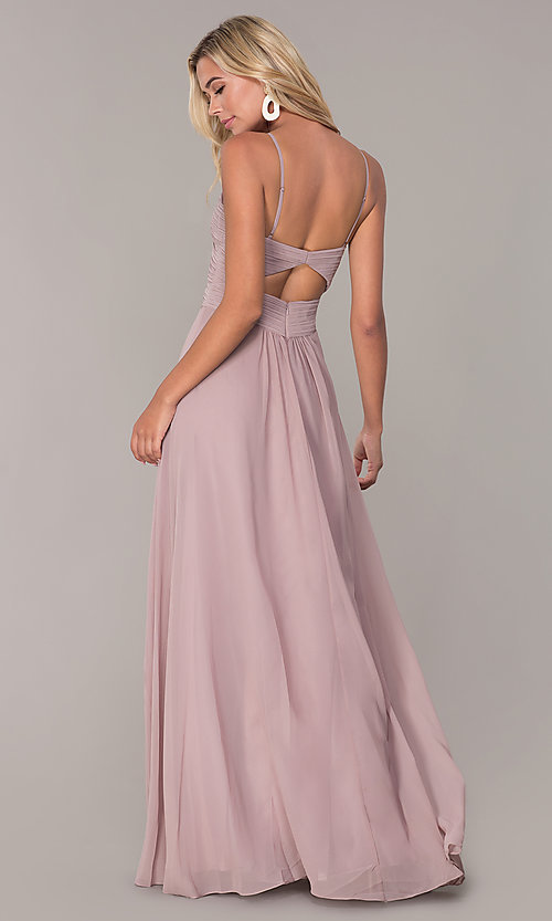 Image of long ruched-bodice chiffon prom dress by Elizabeth K. Style: FB-GL2607 Detail Image 5