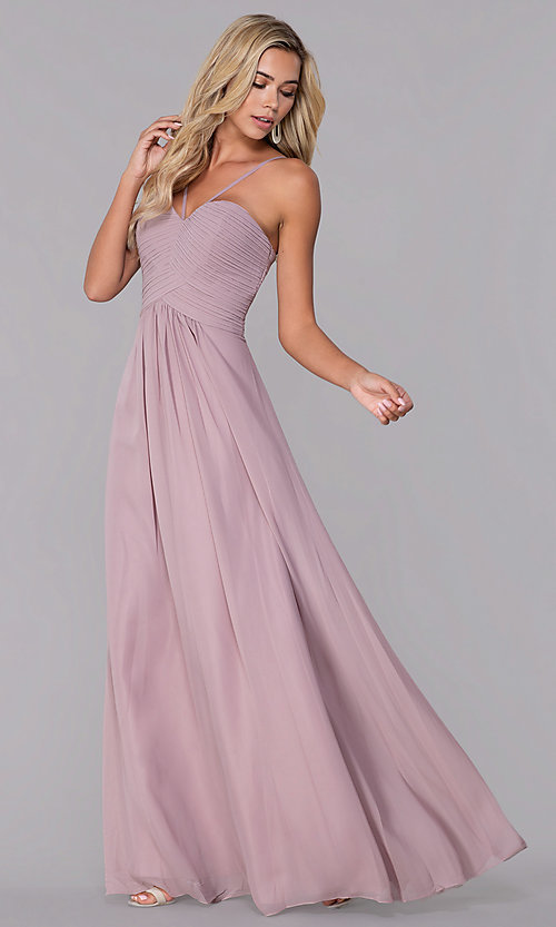 Image of long ruched-bodice chiffon prom dress by Elizabeth K. Style: FB-GL2607 Detail Image 4