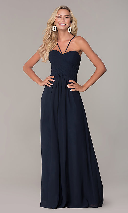 Image of long ruched-bodice chiffon prom dress by Elizabeth K. Style: FB-GL2607 Detail Image 3