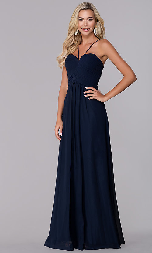 Image of long ruched-bodice chiffon prom dress by Elizabeth K. Style: FB-GL2607 Front Image