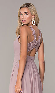 Image of lace-strap chiffon long prom dress by Elizabeth K. Style: FB-GL2605 Detail Image 2