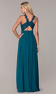 Image of lace-strap chiffon long prom dress by Elizabeth K. Style: FB-GL2605 Detail Image 7