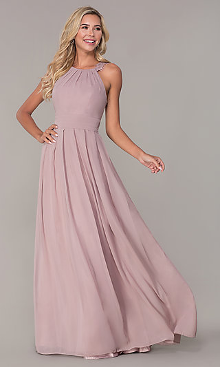 Lace-Strap Chiffon Long Prom Dress by Elizabeth K