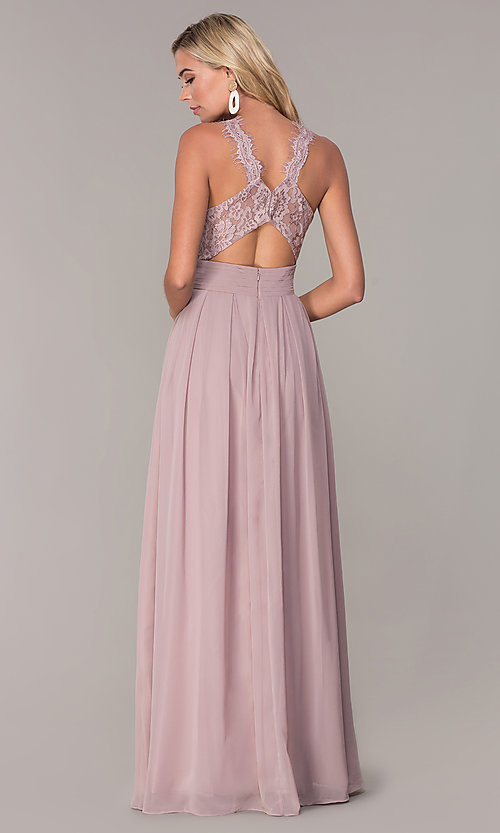 Image of lace-strap chiffon long prom dress by Elizabeth K. Style: FB-GL2605 Back Image