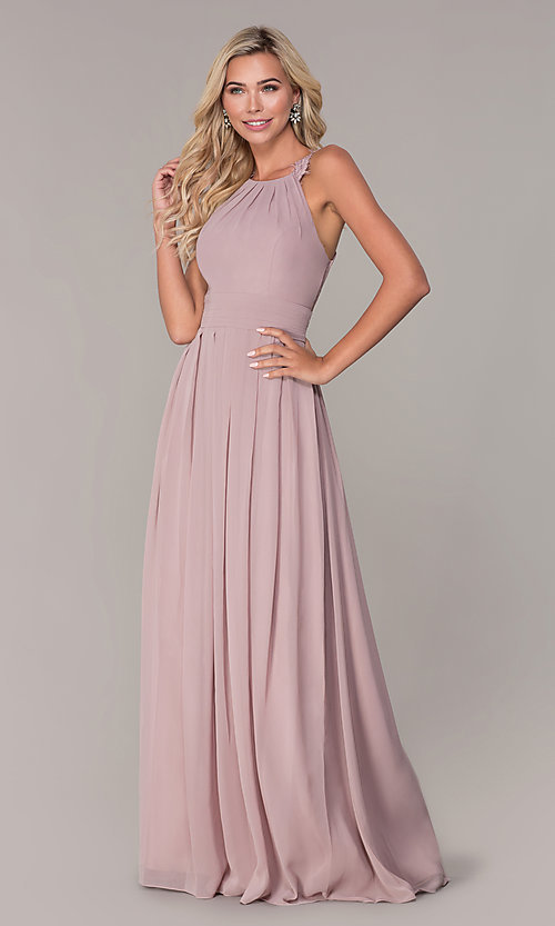 Image of lace-strap chiffon long prom dress by Elizabeth K. Style: FB-GL2605 Detail Image 3