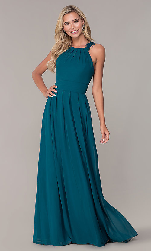 Image of lace-strap chiffon long prom dress by Elizabeth K. Style: FB-GL2605 Detail Image 6