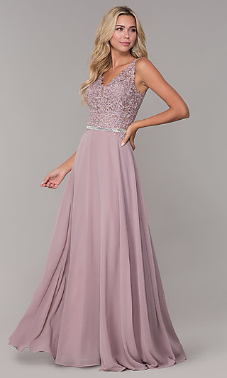 604ee755f V-Neck Embroidered-Bodice Prom Dress by Elizabeth K. Share