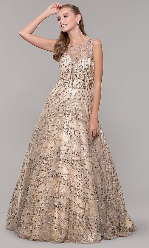 Image of backless long prom dress in champagne gold. Style: MF-E2573 Detail Image 3