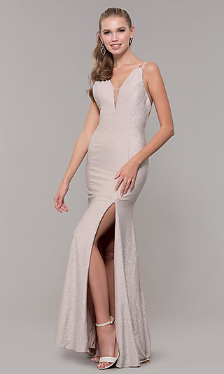 Long Jersey with Glitter Prom Dress
