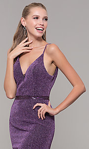 Image of mauve purple glitter open-back prom dress with slit. Style: MF-E2613 Detail Image 1