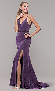 Image of mauve purple glitter open-back prom dress with slit. Style: MF-E2613 Detail Image 3