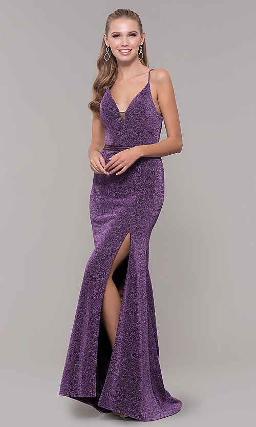 Image of mauve purple glitter open-back prom dress with slit. Style: MF-E2613 Front Image