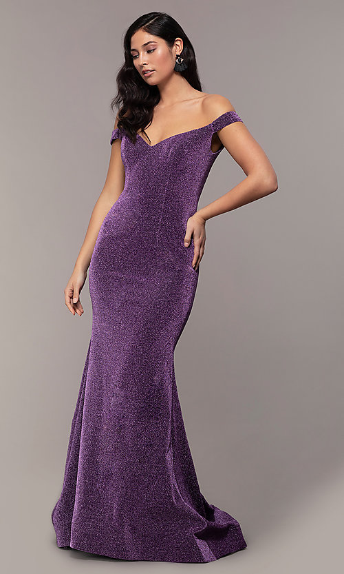 Image of long shimmer-knit off-shoulder mermaid prom dress. Style: MF-E2753 Front Image