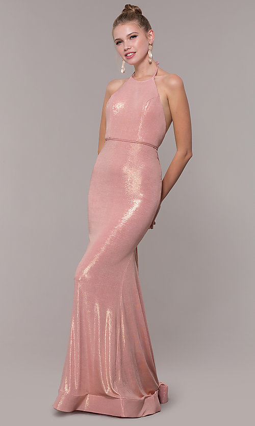 Image of high-neck halter long prom dress in rose gold. Style: MF-E2754 Front Image