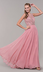 Image of long open-back prom dress with rhinestones. Style: MF-E2760 Front Image