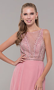 Image of long open-back prom dress with rhinestones. Style: MF-E2760 Detail Image 1