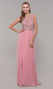 Image of long open-back prom dress with rhinestones. Style: MF-E2760 Detail Image 3