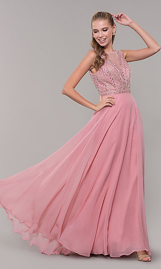 Long Open-Back Prom Dress with Rhinestones