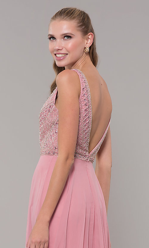 Image of long open-back prom dress with rhinestones. Style: MF-E2760 Detail Image 2