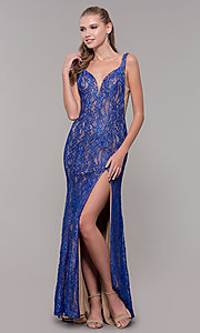 Image of backless long royal blue glitter-lace prom dress. Style: MF-E2764 Detail Image 3