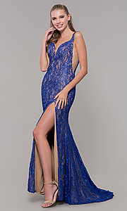 Image of backless long royal blue glitter-lace prom dress. Style: MF-E2764 Front Image