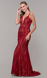 Image of long v-neck glitter-lace red formal prom dress. Style: MF-E2770 Detail Image 3