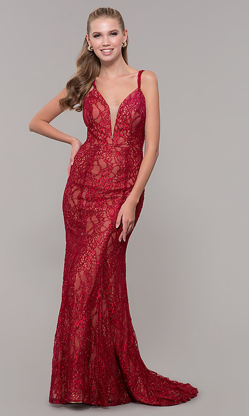 Image of long v-neck glitter-lace red formal prom dress. Style: MF-E2770 Front Image