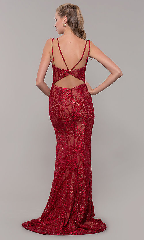 Image of long v-neck glitter-lace red formal prom dress. Style: MF-E2770 Back Image