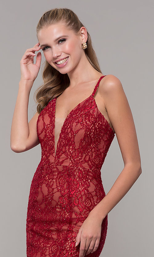 Image of long v-neck glitter-lace red formal prom dress. Style: MF-E2770 Detail Image 1