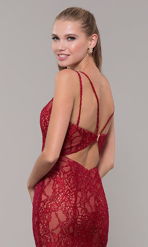 Image of long v-neck glitter-lace red formal prom dress. Style: MF-E2770 Detail Image 2