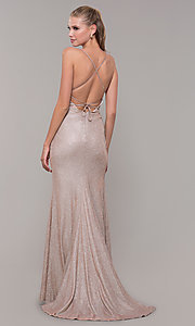 Image of light gold long glitter prom dress with corset. Style: MF-E2773 Back Image