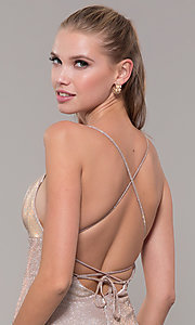 Image of light gold long glitter prom dress with corset. Style: MF-E2773 Detail Image 2