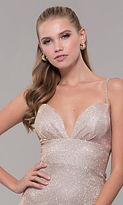 Image of light gold long glitter prom dress with corset. Style: MF-E2773 Detail Image 1