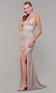 Image of light gold long glitter prom dress with corset. Style: MF-E2773 Front Image