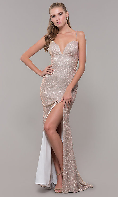 Image of light gold long glitter prom dress with corset. Style: MF-E2773 Detail Image 3