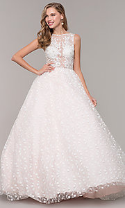 Image of long ball-gown-style bateau-neck prom dress.  Style: MF-E2701 Front Image