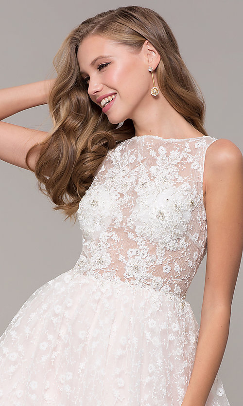Image of long ball-gown-style bateau-neck prom dress.  Style: MF-E2701 Detail Image 1