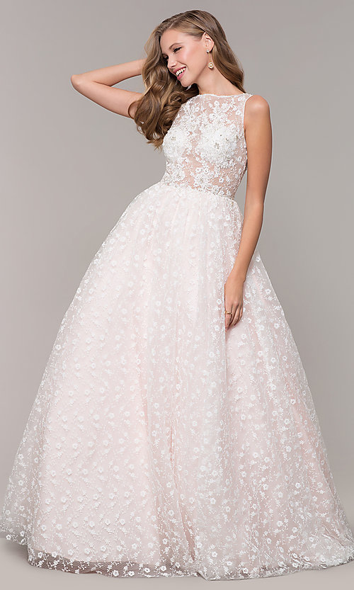 Image of long ball-gown-style bateau-neck prom dress.  Style: MF-E2701 Detail Image 3
