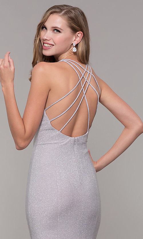 Image of long silver glitter prom dress with strappy back. Style: FB-GL2549 Detail Image 2