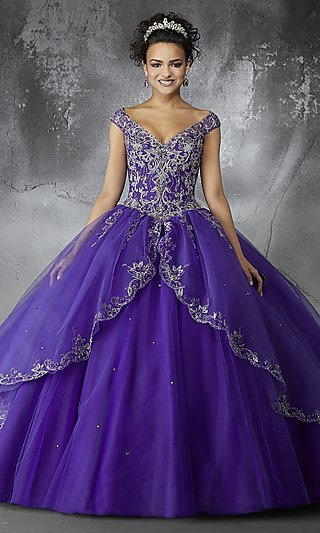 Long V-Neck Quince Gown with Cap Sleeves