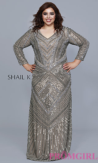 Long Sequined Plus Formal Dress with Sleeves