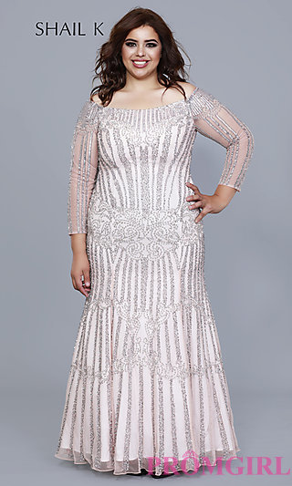 Pink Sequin Plus Formal Dress with Long Sleeves